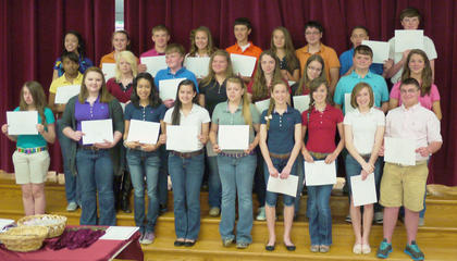 HCMS students receiving awards for having all A's and B's throughout their 8th grade year for the Gold Team were: front row, from left,  Mackenzie Shepard, Shelby Roberts, Andrea Hernandez, Macy Robles, Kennah Noble, Rachel Eckert, Lindsey Burberry, Olivia Eckert, Kevin Barnett; second row, Knijia Hunter, Carly Johnson, Elliot Rognstad, Emily Hendrix, Reagan Gorman, Danielle Farmer, Cody Edwards, Anna Arthur; third row, Jade Wheeler, Emily Tackett, Luke Slucher, Callie Powell, Brett Persinger, Faith Gant, Morgan Owsley, Keishon Gilkey, Reese Asher.