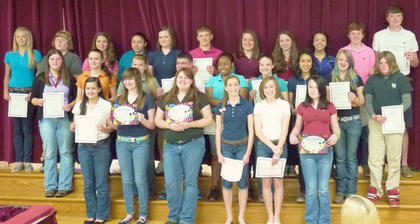 HCMS 8th grade Gold Team students the Highest GPA in their classes for the year were: front row, from left, Macy Robles, Allison Conley, Caitlin Warden, Rachel Eckert, Olivia Eckert, Jacqueline Coppage; second row, Alex Tumey, Emily Tackett, Kennah Noble, Kevin Barnett, Brianna Smith, Haylie Pelkey, Andrea Hernandez, Raelyn Brakke, Cody Adams; third row, Taylor Reffett, Jeremiah Helton, Anna Arthur, Anjelica Hernandez, Courtney Gaunce, Luke Slucher, Holly Winkle, Reagan Gorman, Jade Wheeler, Dalton Miles, Reese Asher.