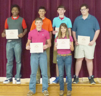 HCMS 8th grade students recognized with Perfect Attendance for the year were: front row, from left, Luke Slucher, Sandra Brock; second row, Malcom Walker, Brett Persinger, Jace Northcutt, Braden Porter. Malcom Walker also received Perfect Attendance for all 3 years at HCMS.