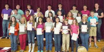 Students receiving awards for the top 3 Grade Point Average Earners for a specific class were: front row, from left, Brooklyn Jackson, Amy Johnson, McKayla Cloyd, Jessi Petty, Quentin Sowder, Macy Robles, Isaiah Brueggen, Taylor Barnes; second row, Joe Banfield, Tanner Wells, Kelsey Nickerson, Ruthie Sparkman, Margot Gildersleeve, Alexis Lanza, Mary Bethea, Kyler Williams; third row, Russ Faulconer, Austin Hill, Hayden Switzer, Stefanie Harney, Jake Jones, Will Marsh, Dylan Turner, Luke Slucher, Emma Darnell.