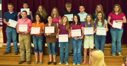 HCMS Most Improved 8th grade students in their classes were: front row, from left, Harrison Schweitzer, Anne Marie Whitaker, Tabitha Herrington, Sydney Setters, Jacqueline Coppage, Abby Cooper, Leslie Morris; second row, Wes Fowler, Mason Cain, Autumn Westfall, Taylor Isaacs, Brian Caskey, Ian Hall, Alysia Brossart, Linda Claypool.
