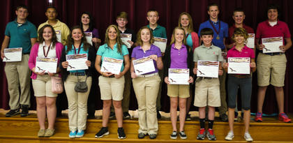 Students receiving the Citizenship award were: front row, from left, Annie Furnish, Madison Coppage, Christy Adams, Lauren Ammerman, Charlie Moore, Tanner Hodge, Sabrina Goins; second row, Josey Brown, Lekenrick Boyers, Dannie Duncan, Devin Mattox, Alex Bryan, Cameron Cooper, Alex Midden, Max Ferguson, Alex Howard.