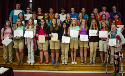 Eighth grade students receiving the Gold Honor Roll awards were: front row, from left, Lydia McNees, Kelby Gaunce, Mersadeez Dietrich, Allison Nichols, Jordan McDaniel, Johana Torres, Shelbi Morris, Charlie Moore, Sydney Perraut, Alyssa Kilpela, Samantha Campbell, Melicity Fraley; second row, Taylor Ecklar, Devin Mattox, Christy Adams, Lauren Ammerman, Shelby Mullen, Cameron Cooper, Dakota Jones, Samantha Wood, Dawson Garrity; back row, Tyler Radford, Skyler Moore, Luke Bradford, Austin Haynes, Cameron Brown, Addison Gasser, Sydnie Lyons, Haley Fauste, Ben VanHook, Alex Midden.