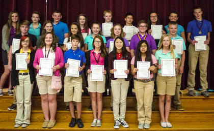 The Top GPA in Class were: front row, from left, Samantha Campbell, Annie Furnish, Haley Creech, Morgan Sumpter, Elizabeth Barnes, Johanna Torres, Shelbi Morris; second row, Devin Mattox, Karlee Migneault, Noel Howard, Kelsey Hutchinson, Lauren Ammerman, Owen Stephens, Wyatt Banks; back row, Morgan Barker, Karlee Mineer, Lucas Sullivan, Bailee Thornsbury, Caleb Whisman, Ryan Tobin, Jacky Uhles, Sydnie Lyons, Alex Midden.