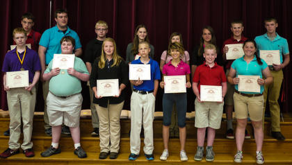 Receiving Perfect Attendance awards were: front row, from left, Caleb Whisman, Dalton Ward, Shelby Mullen, Hunter Wear, Sabrina Goins, Trevor Carter, Olivia Partin; second row, RJ Ogden, Tyler Radford, Westin Russell, Karlee Migneault, Lydia McNeese, Dakota Jones, Max Ferguson, Presley Jackson.