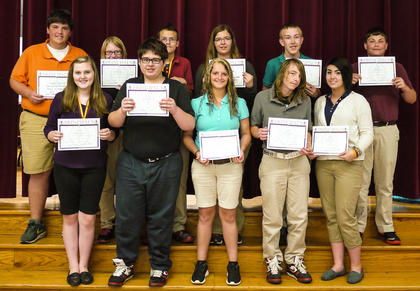 Receiving the Principal award were: front row, from left, Rebekah Cain, Andrew Cathey, Christy Adams, Eithan Hall, Olivia King; back row, Hunter Wiglesworth, Marissa Boggs, Harley Rausmussen, Kendyl Beckett, Alex Bryant, Brandon Martin.