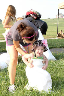 Campbell McCann and her mother Codye McCann participating in the sack races.