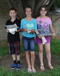 Conservation Award. Students receiving the Conservation award were, from left, Braden Bell, Abby Stroub, Annie Spicer.