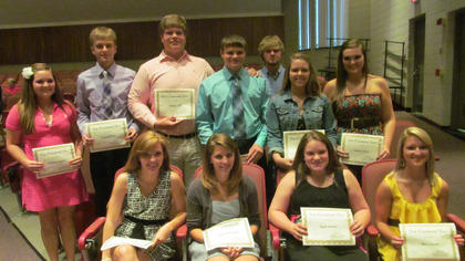 Cox Scholarship. Front row, from left, Lauren Jackson, Katlynn Horschler, Katie Sowder, Macy Gasser; back row, Whitney Gaunce, Campbell Hall, Walker Hill, Nick Slucher, Garrett Creech, Katelin Martin, Quinne Moore.