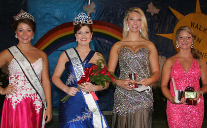 Winners were: from left, 2012 Miss Harrison County Michelle Carson,  2013 Miss Harrison County Allison Wade, also received Best Theme Wear, first runner up Madison Fraley, and second runner up and Miss Congeniality Macy Gasser.