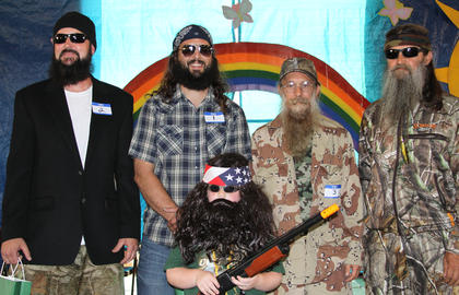 Winners of the first Harrison County Fair Duck Dynasty Look-A-Like contest were: front row, from left, Junior Willie Tripp Nichols; back row, Jase-Todd Cuthbertson, Willie-Bryan Burden, Uncle Si-Eddie Clements, and Phil-Wayne Medlin. Other participants were Rodney Poulter, Charlie Duckworth, Brandon Bills, Larry Medlin and Patrick Carson.
