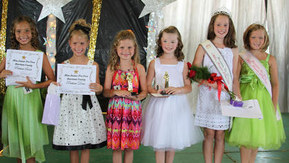 Winners in the Jr. Pre-Teen pageant were: From left, Victoria Gasser-prettiest smile, Sydney Furnish-prettiest dress, Lainey Vaughn-second runner up, Amber Kern-first runner up, Anna Midden-Miss Jr. Pre-Teen, and Riley Funkhouser-2011 Miss Jr. Pre-Teen.