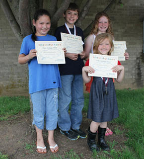 Kids' College. Westside students recognized for Kids' College were: from left, Emma Tackett, Dylan Brown, Madison Soard, Morgan Mink.