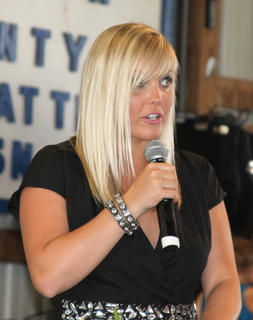 Macy Insko was the emcee for the pagents held Tuesday, July 9 in the barn.
