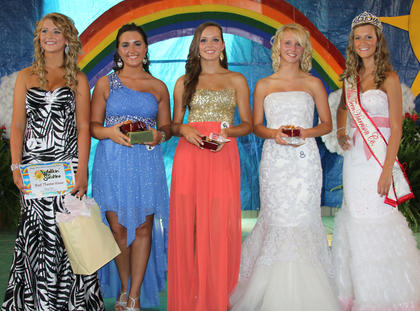 The 2013 Miss Teen winners were: from left, best theme wear Sydnie Lyons, Miss Congeniality Shelby Traylor, second runner-up Anna Dean Marsh, first runner-up Kaylee Lemons, 2013 Miss Teen Chandlyr Puckett.