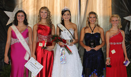Winners in the Miss Teen pageant were: From left, Kayla Harless-2011 Miss Teen, Madison Fraley-second runner-up and best smile, Katelyn Oakley-2012 Miss Teen and best dress, Jessica Wilson-Miss Congeniality, Kaylea Lemons-first runner up.