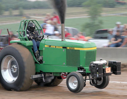 Royce McGowan from Russell Springs Ky, made two full pulls during the Thoroughbred Pullers Association truck and tractor speed pull Friday night.