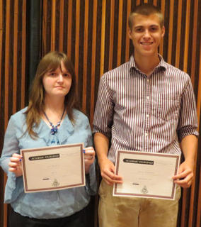 HCHS seniors receiving Art awards were: from left, Art 2: Alex Maybrier and AP Studio Art: Daniel Klapheke