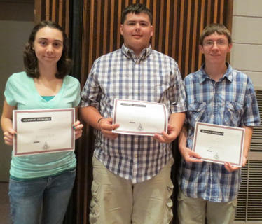 Students receiving Concert Band awards were Oustanding Musical Improvement: Johnny Mitchell, Outstanding Musical Achievement: Jordan Riddell, Outstanding Musical Contributions: Brady Love.
