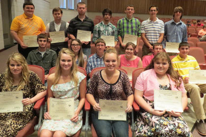 Engineering and Technology: Chase Bailey, James Ballard, Kyle Bozynski, Joseph Faulconer, Michael Fryman, Scott Kenall, Johnna Marshall, Jordan Martin, Logan McLane, Grant Morgan Sanders, Brandon Watkins; Consumer and Family Management - Sarah Barnes, Samantha Hauk, Faith Hopkins, Holly Miller, Haley Morris, Shavona Roach, William Vaughn; Early Childhood Education - Sarah Barnes, Amanda Bryant, Kelsi Caldwell, Samantha Hauk, Holly Miller, Haley Morris, Kalynn Nelson, C. Agriculture Ag. Education, Communication and Leadership Susan Brooke Darnell, AgriBusiness Johnny Mitchell, Production Livestock, Joseph Bush, Lincoln Clifford, Johnny Mitchell, Devyn Prater.
