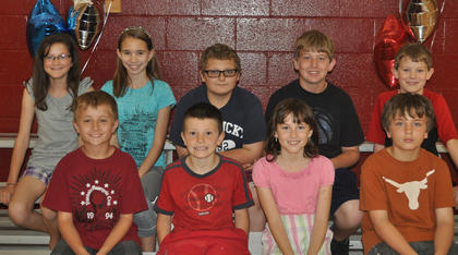 Kids College Scholarships. Front row, from left, Nycolas Conley, Derek Benton, Velvet Engle, Hunter Gaunce; second row, Conservation District Art Award, Emma Gooden, Christina Wilson, Bill Edwards Scholarship Award, Matthew Knight, AARP Grandparent Essay Award, Tyler Linville, DAR Essay Award, Zachary Getting.