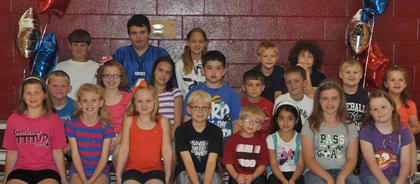 Perfect Attendance. Front row, from left, Mary Partin (4th Grade Dorothy McCauley Attendance Award), Kendall Box, Liz Gossett, Benton Bramel, Tanner Stroub, Denise Soto, Hailey Herrington, Morgynne Lunsford; second row, Michael Partin, Jacqueline Smith, Sarah Dunaway, David Sexton, Zeke Hofstetter, Trent Fry, Donald Ecklar, Isabella Baker; third row, Eli Mattox, Bradley Bills, Melony Dunaway (5th Grade Dorothy McCauley Attendance Award), Blake Burden, Patrick Marshall.
