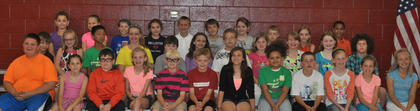 4th Grade A/B Honor Roll All Year: first row, from left, Skylar Amburgey, Destiny Aubrey, Calvin Bartels, *Kendall Box, Benton Brammel, Blake Burden, Tatum Cummings, Arya Curtis, Ryley Dahmer, Payton Doyle, Dylan Ecklar, Kendra Fizette; second row, Ryan Fuller, *Liza Jane Gossett, *Sam Hassall, *Hailey Herrington, Drew Hodge, Taylor Hunt, Jerry Ingram, Haleigh Jones, Adyson Lakes, *Morgynn Lunsford, Patrick Marshall; third row, *Amelia McDaniel, *Laurel McDaniel, Isaac Miller, Sara Newman, Nick Royalty, Landon Schjoll, Kassidi Snapp, *J.D. Soard, Bailey Thompson, Tayvonne Williams. *Denotes all A's