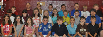 5th Grade A/B Honor Roll All Year. Front row, from left, Grace Simpson, Emma Gooden, Alivia Austin, Anthonly Vascotto, Deforest Adams, Nathan Maynart, Daniel Bartels, Thomas Morris; second row, Eli Mattox, Mackenzie Sumpter, Gracie Roberts, Madison Kellione, Christina Wilson, Andrew Day, Zach Maresco, Ryan Sparks; third row, Zachary Getting, Broklynn Kelly, Melony Dunaway, Jarett Adams, Elijah Dahmer, Spencer Free, Braxton Bramel, Tyler Linville. Absent was Spencer Gray.