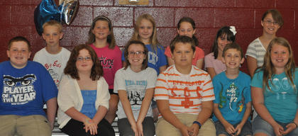 Science GEEKS Award. Front row, from left, Will Lucky, Emma McGee, Addison Moore, Will Darnell, Colton Kendall, Macie Clough; second row, Casey Sledd, Mary Partin, Katie Bowling, Anna Midden, Savanna Austin, Chantelle Napier.