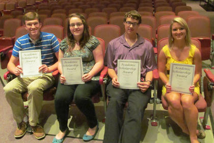 Academic Boosters Scholarship. Receiving Academic Boosters Scholarships were, from left, Cory McCauley, Sydney Slade, Tazz Fulton, Macy Gasser.