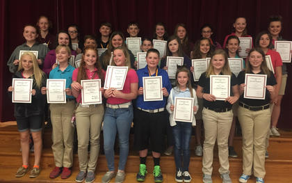 Achievement Awards. Receiving Achievement awards were: back row, from left, Kara Hines, Aissatou Gallagher, Nycolas Conley, Andrew Fryman, Jemmie Leigh McIlvain, Olivia Hatterick, Haley Bills, Savannah Irvin, Madison Denniston; middle row, Haley Covington, Blaykelyn Northcutt, Trent Fry, Aaliyah Stidham, Riley Moses, Makenzie Fister, Devin Covert, Harleigh Mullins, Isabel Sims; front row, Leccia Nickerson, Zachary McComas, Kenley Tumey, Katlyn Fitzpatrick, Jacob Vascotto, MaKenzie Florence, Sydney Sowder, Seaana Skinner.