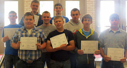 Ag. Power, Structural & Technical Systems. Receiving awards were: Cody Wyatt, Tristan Ellington, Austin Snapp, Dillon Lunsford, Samuel Sowder (Horticulture), Tyler Jackson, Ryan Huff (Horticulture), Trent Evans, Herald Stephens.