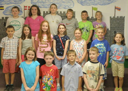 Students receiving Accelerated Reader awards were: front row, from left, Ava Denniston, Samuel Mullen, Blake Green, Barrett Philpot; second row, Korbin Gilkey; Lily Moses; Kenley Tumey; Riley Moses; Jae Kathryn Grose, Tanner Tumey, Riley Grob; third row, Ryan Cochran, Alexys Switzer, Trystan Thompson, Aaron Pickett, Lucas Herrington, Kaley Robinson.