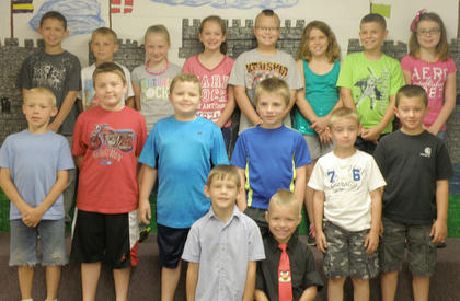 Students with Perfect Attendance for the year were: front row, from left, Blake Green, Preston Cole; second row, Sam Heitfeld, Ethan Hall, Mark Richardson, Daniel Simpson, Dustin Gill, Dru Whitaker; third row, Jo Jo Pike, Daniel McNees, Emily Bradford, Daelyn Morrison, Cameron Perry, Lauren McNees, Lucas Herrington, Madison Bennett.