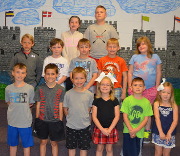 Perfect Attendance. Students recognized with Perfect Attendance awards were: bottom row, from left, Daniel Bowlin, Tony Northcutt, Preston Cole, Alexis Cole, Jake Bowlin, Madison Wood; second row, Sam Heitfeld, Samuel Mullen, Dustin Gill, Noah McNees, Eliza Carter; top row, Morgan Bihl, Wyatt Gaunce.
