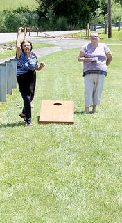 A corn-hole tournament was held at the park.