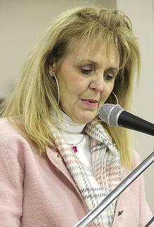 Katie Walker read letters of nomination for her long-time friend Jimmie Herrington.