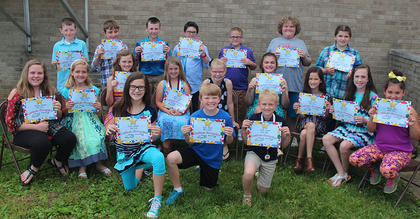 Beta Club. Receiving awards were: front row, from left, CeCe Boland, Kyle Roark, Emma Hamm; second row, Karley Furnish, Sophia Bowlin, Maggie Davis, Desiree Couve, Kaitlin Lewis, Mary Canupp, Kaylee Fields, Hannah Mitts, Shelby Oaks; third row, Clayton Laytart, Jack Howard, Braden Fields, Jon Nichols, John Michael Furnish, Douglas Harris, Josie Tucker.