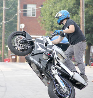 MG Stunts put on two shows during Bike Nite.