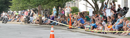 Both sides of Court Street were lined with people who took in the driving skills of MG Stunts.
