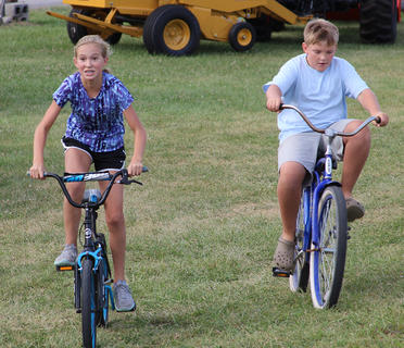The Harrison County Fair Family Fun Night was held Thursday, July 27.  Games for the kids included: Money in the hay stack, tire toss, hula hoop contest, bike race, and a water balloon toss.