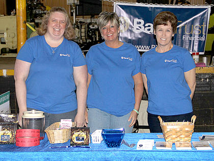 Tricia Miller, Michelle Cordray and Tonya Dryden greeted attendees at the Cynthiana Democrat Home and Garden Show on Saturday.