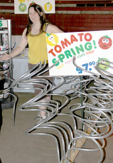 C'Jedd's tomato springs were a popular item at the 11th annual Cynthiana Democrat Home and Garden Show. Sandy Martin explained how the cages work.