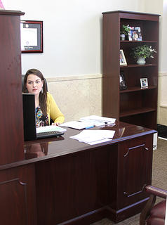 Samantha Wright, deputy clerk, has an office to the right when you come in the front door.