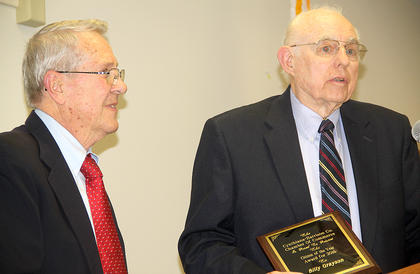 Citizen of the year James Swinford, left, presented the 2016 Citizen of the Year award to former city commissioner Billy Grayson at Thursday's Chamber of Commerce Awards Banquet.