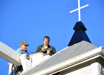 On March 8, 2017, a new steeple was placed on the Boyd United Methodist Church. The steeple was made by the Spicer Machine Shop, Jimmy Howard, left, was the project manager and Jimmy Courtney was the equipment operator. The church is grateful for community support. Donations of time, money and prayers made this a successful endeavor.