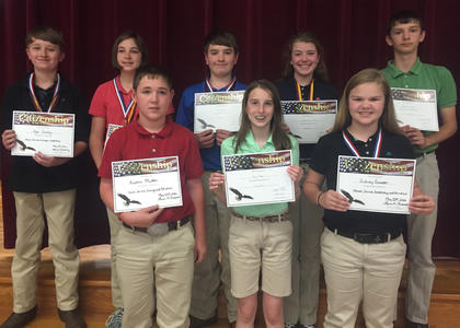 Citizenship Award. Students receiving Citizenship awards were: back row, from left, Nycolas Conley, Isabel Sims, Colin Perkins, Jimmie Leigh McIlvain, Jonathan Hamilton; front row, Austin Mullen, Riley Moses, Sidney Sowder.