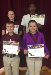 Citizenship Award. Students recognized with the Citizenship award were: back row, from left, Morgynne Lunsford, Ladarius Conner; front row, Justin Gaunce, Jensen Sullivan.