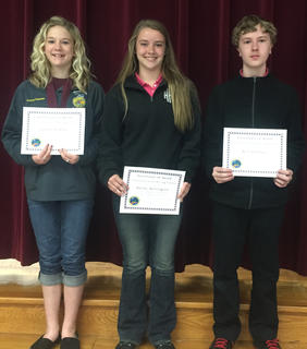 Conservation Essay. Receiving Conservation Essay awards were: from left, Jaelyn Terhune, Hailey Herrighton, Will Johnson.