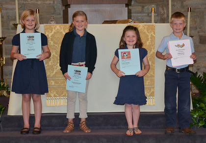 First Grade students receiving awards were: Mae Heimlich, Naomi Farrar-Laws, Gabby Aldridge, Colton Jones.